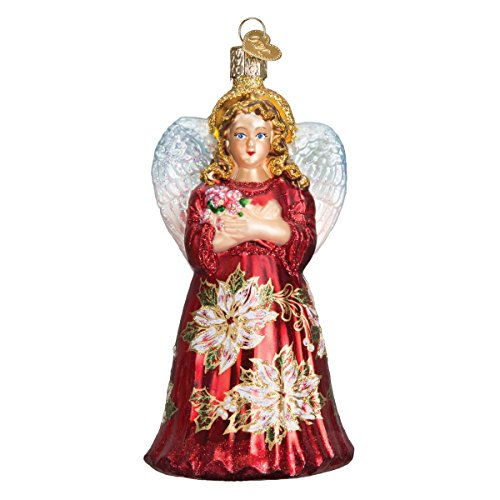 Old World Christmas Collection Glass Blown Ornaments for Christmas Tree Angle, Red Poinsetta Angel