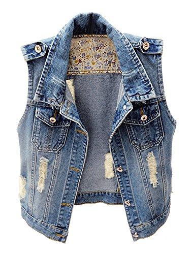 KEDERA Womens Denim Jean Vest Classic Cropped Distressed Sleeveless Jean Jacket (Blue, Medium)