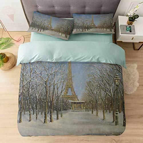 100% Washed Microfiber 3pcs Bedding Set, Winter Scene of Historical Eiffel Tower in Paris Snowy City Europe Urban, Soft and Breathable with Zipper Closure & Corner Ties, White Blue Grey