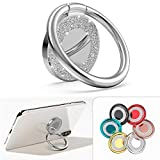 Allengel Cell Phone Ring Holder,360 Rotation Glitter Metal Finger Ring Grip Kickstand for Strong Magnetic Car Mount Compatible with iPhone,Samsung Galaxy,LG,HTC,All Smartphone,Phone Case-Silver