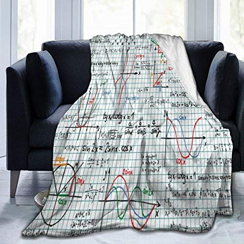 LISNIANY Flanell Fleece Soft Throw Decke,Mathematik Klassenzimmer Algebra Studien Lektion Notizbuch Seite Skizzen Formel Mehrfarbig,für Sofas Sofa Stühle Couch Leicht,warm und gemütlich 204x153cm