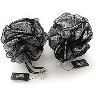 1541 London Exfoliating Bath & Shower Body Puff / Scrunchie / Buffer TWIN PACK (Olive Black)