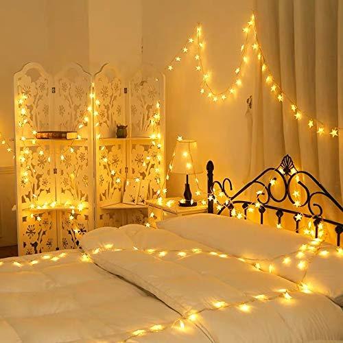 イルミネーションライト LED ストリングライト 星 飾り付け防水 6m 40球 電池式 点滅/常時点灯