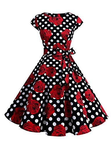 opdamyi Vestido de Mujer Estilo de los años 60 de Hepburn a Estilo de Mancheron Vestido Vintage Estilo de Lunares