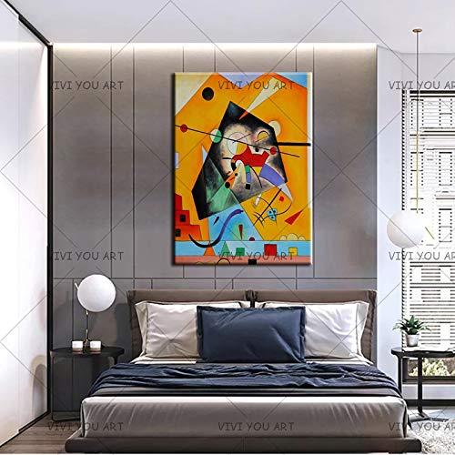 PVZADEW Cuadro en acrílico Nueva Pintura al óleo Abstracta Hecha a Mano de Wassily Kandinsky Lienzo sin Marco Artista técnico Dibujo Imagen Arte de la Pared decoración del hogar 70X100 cm
