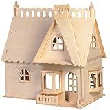 Etna Iława Haus mit Vorbau - riesig ca. 48 x 31 x 45 cm 3D Holzbausatz Puppenhaus Holz Steckpuzzle...