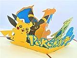 BC Worldwide Ltd handgemachte 3D-Pop-up-Karte Pokémon Taschenmonster Geburtstag Kind Kind Party Einladung Jubiläum Muttertag Vatertag Valentinstag - 6