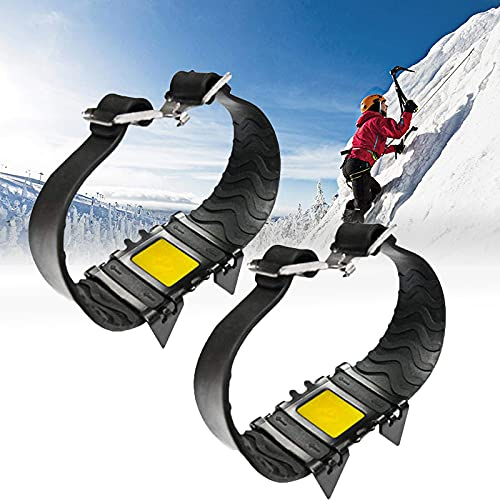 Crampones, Cubierta de Zapatos Antideslizantes de Cuatro Dientes on Snow Pendientes de tracción para Botas de Nieve y Zapatos, Picos de Raquetas de Nieve para Esquiar al Aire Libre