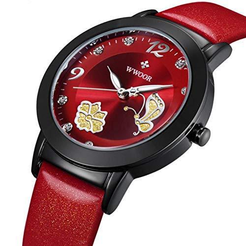 DAUERHAFT Reloj de Pulsera con Movimiento de Cuarzo Elegante de Moda para Mujer WWOOR, Correa de aleación de Reloj Informal, Uso Diario y Otras Ocasiones(Rojo)