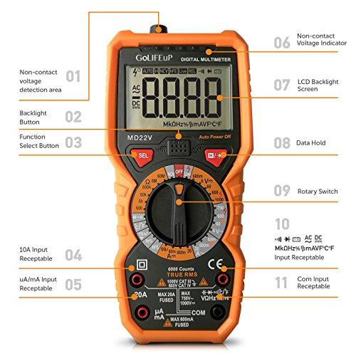 Multimeter Voltage Tester Digital Battery Circuit Automotive Temperature Frequency Continuity Capacitance Resistance True rms 6000 Counts Ohm Volt Amp AC DC NCV Measurement Live Line detector Non-Cont