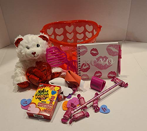 Valentine Kid Basket Toy Fun Heart Red Pink Fortune Cookie Teddy Bear Smile Hug Love Play Candy Glasses Candy Sweetheart Sweet
