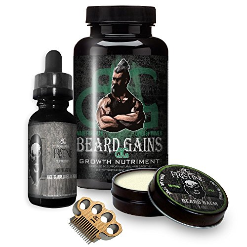 BEARD GAINS Biotin Supplement Multi-Vitamin Pills Growth Bundle Kit W/Pristine Scented Oil, Medium Butter Hold Balm Leave-in-Conditioner & Wooden Beard Mustache Comb | Made in USA
