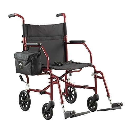 Medline Lightweight Steel Transport Wheelchair comes with a convenient storage bag