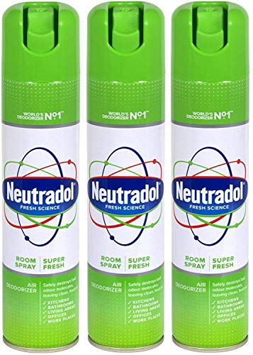 THREE PACKS of Neutradol Spray Super Fresh 300ml