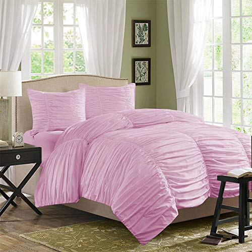 MISR Linen 100% Pure Egyptian Cotton 3PCs Gathered Duvet Set Solid 500 Thread Count (Pink, King / 223 X 223 CM)