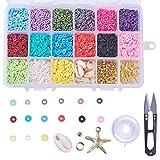 Cheriswelry Juego de 2850 cuentas de arcilla polimrica redondas planas de 6 mm con 15 colores de disco Heishi cuentas de estrella de mar, cuentas de conchas marinas para hacer joyas