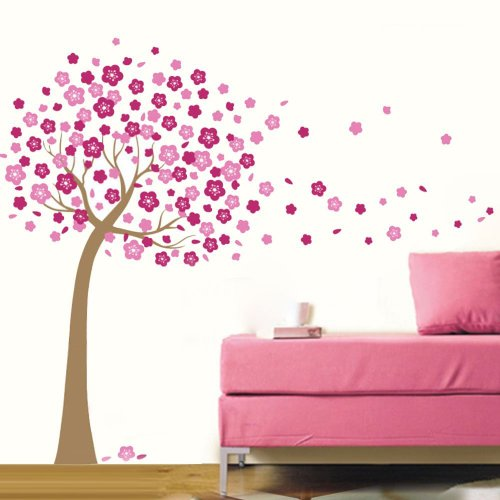 O 'plaza ® Natural Flower Beauty Pink Flying Blossom Cherry Tree in the Wind Nature Scenery Wandtattoo/Aufkleber/Decor Tapete Art Wand Mural Art Decor