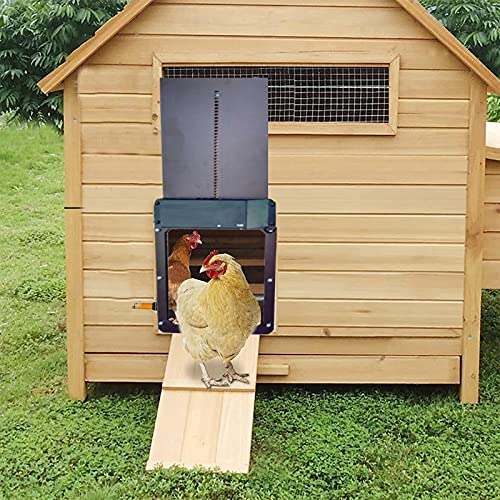 Automatic Chicken Coop Door with Light Sensing, Full Aluminum Weatherproof Automatic Chicken Door for Chicken Coop Cages with Evening and Morning Delayed Opening Timer Chicken House Door (Brown, 1PC)