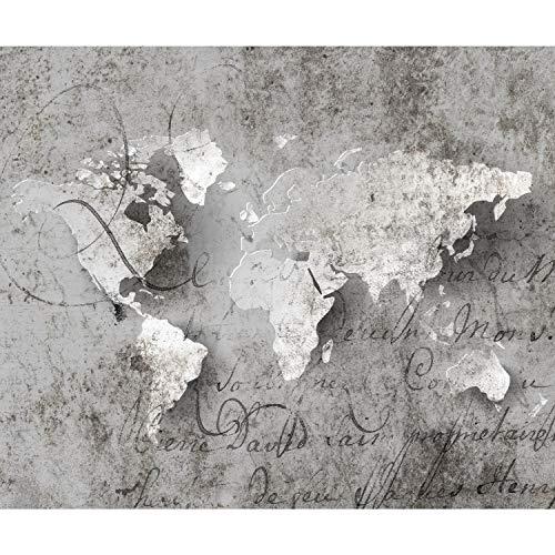 decomonkey Fototapete Weltkarte 400x280 cm XL Tapete Fototapeten Vlies Tapeten Vliestapete Wandtapete moderne Wandbild Wand Schlafzimmer Wohnzimmer Steinwand Vintage Retro grau