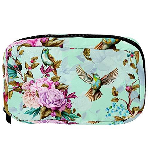 Bolsas cosméticas con diseño de pájaros con lirio, rosas y amapola, práctica bolsa de viaje para mujeres y niñas
