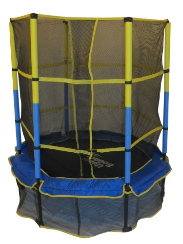 Upper Bounce 55u0022 Kiddy Trampoline and Enclosure Set – Drop-Click Easy Assembly Round - Outdoor Trampoline for Kids, Supports Up to 120 lbs
