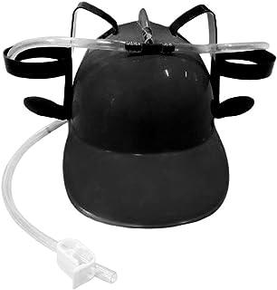 Beer Soda Drinks Guzzler Helmet Drinking Hat Chapeau de Paille Black Party Game Hat (Black)