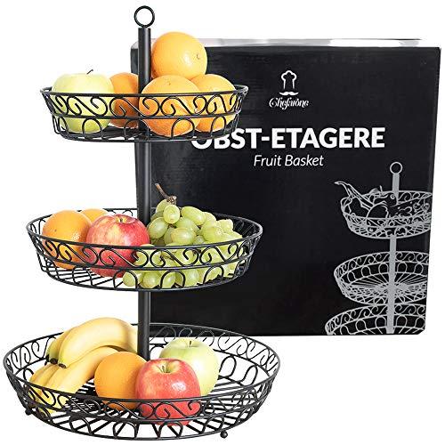 Chefarone frutero de 3 pisos - Cesta de frutas metálica para mostrador y organizador cocina – Fruteros de cocina negro estilo vintage – Para verduras y frutas frescas - Soporte de frutas con cuencos