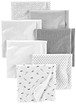 Simple Joys by Carter s Baby Unisex 7-Pack Flannel Receiving Blankets Gray/White/Black One Size