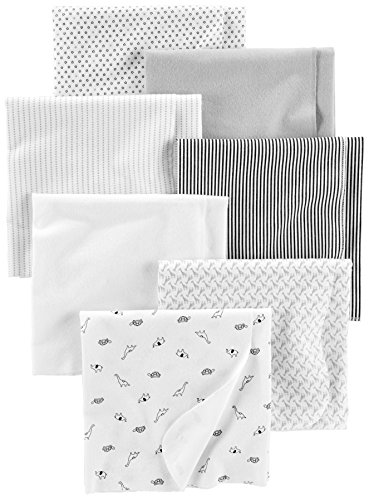 Simple Joys by Carter's 7-Pack Flannel Receiving Blankets, Grey/White/Black, One Size, Pack of 7