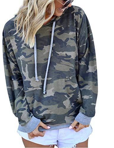 BOUYDM Mujer Sudadera con Capucha Manga Larga de Algodón Estampado Camuflaje Suéter Encapuchado Camiseta Tops Pullover Gris 2XL