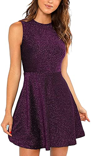 Vestido Brillante para Mujer Sin Mangas A Line Fit and Flare Vestido de cóctel de Fiesta por Encima de la Rodilla Mini Vestido de Noche-Purple_XXL