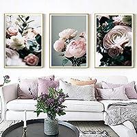 ポスターとプリントモダンな牡丹花のギャラリーフラワーウォールアートポスタープリント北欧の写真リビングルームのインテリア家の装飾3個20x30cmフレームなし