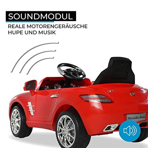 RC Auto kaufen Kinderauto Bild 6: Kinder Elektroauto Mercedes Lizenziert SLS AMG Original Lizenz Kinderauto Kinderfahrzeug Elektro Spielzeug für Kinder (Rot)*