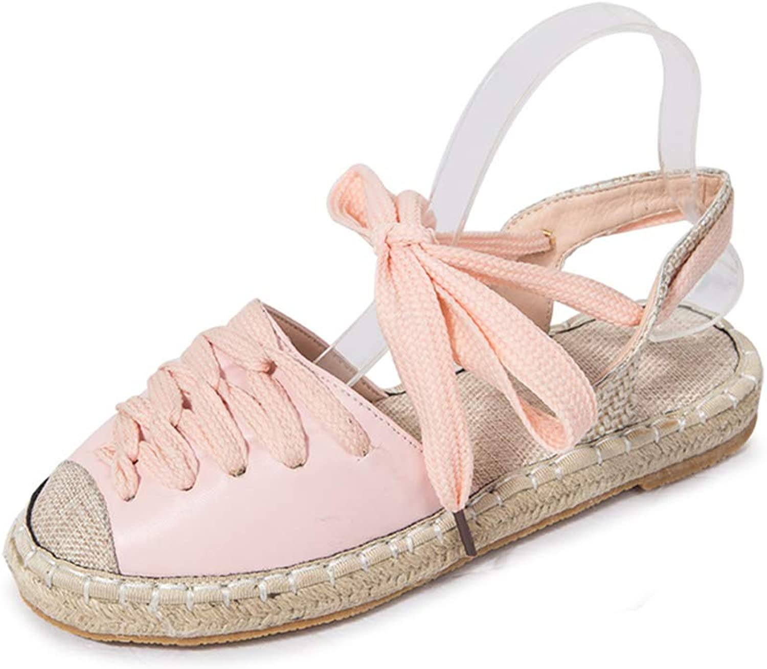 HEDDK Plus Size 35-42 Summer Women Casual Flat Espadrilles shoes Sandals Woman Ankle Strap Flock Straw Sewing Footwear
