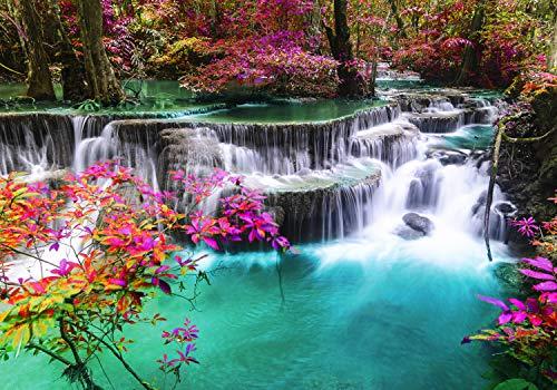 wandmotiv24 Fototapete Wasserfall im Paradies XS 150 x 105cm - 3 Teile Fototapeten, Wandbild, Motivtapeten, Vlies-Tapeten Pflanzen, Fluss, Wald M5768