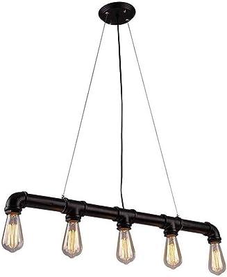 Lingkai Lámpara de techo industrial Vintage luz Edison rústico ...