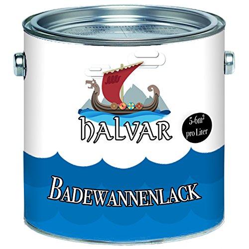 Halvar 2K Badewannenbeschichtung skandinavischer Badewannenlack für Keramik Emaille Acryl Fliesen Badewanne Porzellan Stahl Fliesen Kunststoff GFK hochwertiger Schutz! (2,5 L, Weiß)