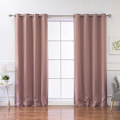 """Best Home Fashion Thermal Insulated Blackout Curtains - Stainless Steel Nickel Grommet Top - Mauve - 52"""" W x 84"""" L - (Set of 2 Panels)"""