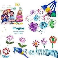 SPECOOL 56 Pezzi Pennelli Spugna per Pittura Set per Bambini, Pennello da Disegno per Bambini, Paint Spugne per Bambini Lavabile Set, la Pittura di DIY Arte e Mestieri, Grembiule #3