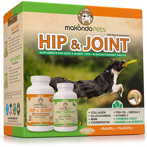 Hip and Joint Supplement for Dogs with Chondroitin, Collagen for Dogs, Turmeric, Boswellia, Dog Glucosamine for Dogs & MSM - Dog Arthritis Supplement. Extend Dog Joint Supplement Large Breed and Small