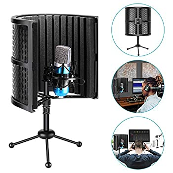 Neewer Tabletop Compact Microphone Isolation Shield with Tripod Stand Mic Sound Absorbing Foam for Studio Sound Recording Podcasts Vocals Singing Broadcasting  Mic and Shock Mount Not Included
