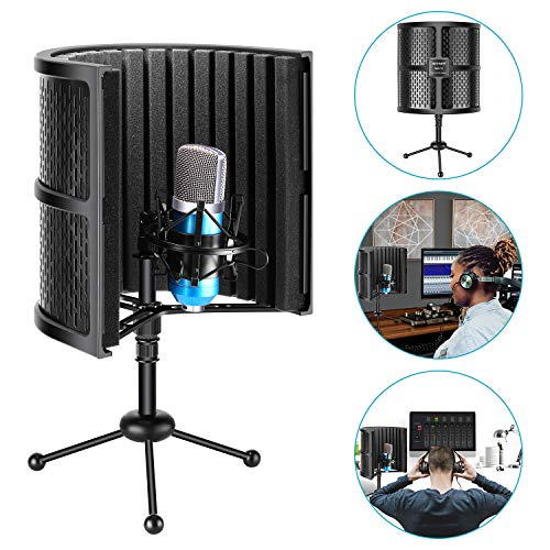 Neewer Tabletop Compact Microphone Isolation Shield with Tripod Stand, Mic Sound...