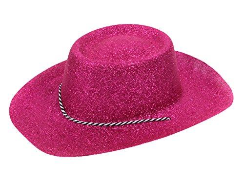 Alsino Glitzer Disco Cowboy Hut Partyhut Glitzerhut mit Kordel, Variante wählen:CW-57 Glitzer pink