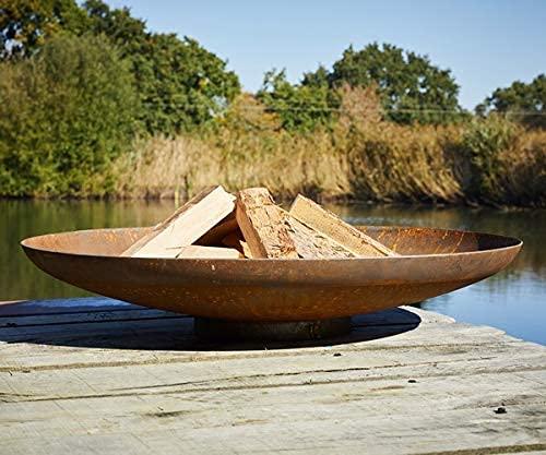 Round Wood 100cm Curved Corten Steel Fire Pit - Burner Bowl Outdoors Bonfire Garden Feature Home