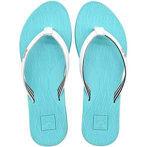 KuaiLu Dusch und Badeschuhe für Damen Ultraleicht Leder Stoff Zehentrenner Bequeme Yoga Matte Fußbett Badeschuhe Breite Füße Sandalen Türkis 38