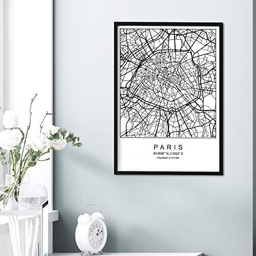 Nacnic Lámina Mapa de la Ciudad Paris Estilo nordico en Blanco y Negro. Poster tamaño A3 Sin Marco Impreso Papel 250 gr. Cuadros, láminas y Posters para Salon y Dormitorio