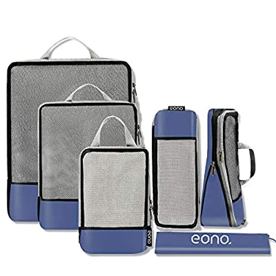 Eono by Amazon - Compression Packing Cubes, Travel Luggage Organiser Set, Travel Cubes, Extensible Organizer Bags for Travel Suitcase Organization, Navy, 6 Set by