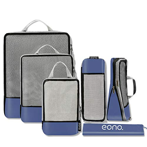 Eono by Amazon - Komprimierbaren Packwürfeln zur Organisation Ihres Reisegepäcks, Compression Packing Cube, Packtaschen Set & Gepäck Organizer für Rucksack & Koffer, Navy, 6-teilig