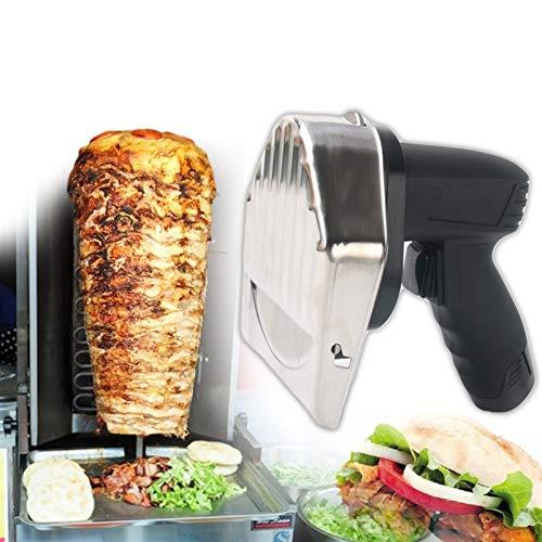 WJY Cortador Eléctrico De Kebab, 80W Puede Ajustar el Grosor Cuchillo Eléctrico for Kebab Shawarma Gyros Cortador Cortador de Carne Portátil for Casa Pollo Cordero Cerdo