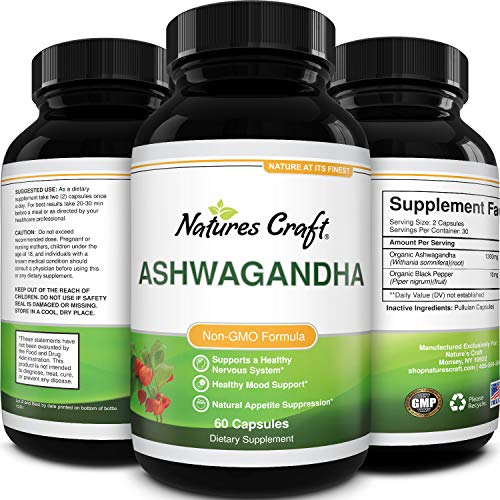 Natures Craft's Best Ashwagandha Root Powder capsule – Premium Relaxation Sleep Natural Supplement – Stress Relief Energy Rejuvenate 100% Pure Potent Ingredients for Women and Men